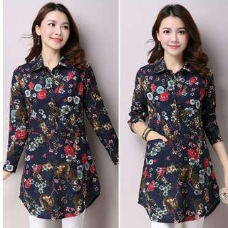 HQ 14519 Blue Floral Long Shirt