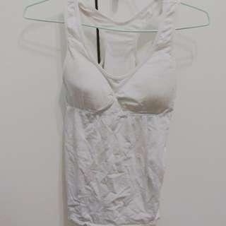 有bra白色彈性背心