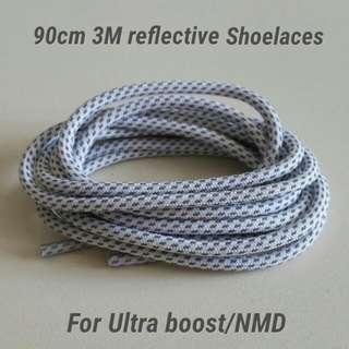 90cm Cross Grain 3M Reflective Shoelace - White