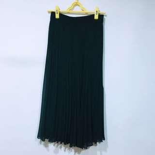Vintage 純粹的黑 百摺雪紡長裙