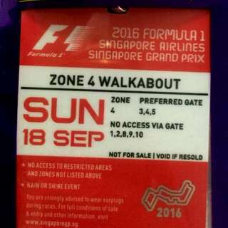 PENDING - Formula 1 Zone 4 Walkabout Tickets (SUNDAY)