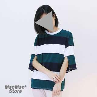 (現貨)袖開衩配色 寬條紋寬鬆五分袖棉T(紅/綠)