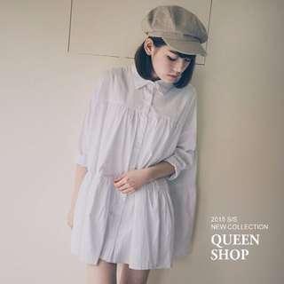 Queenshop蛋糕層次抓皺寬版襯衫洋裝