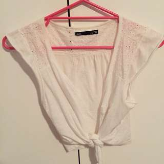 Dotti Button/Tie-Up Crop Shirt