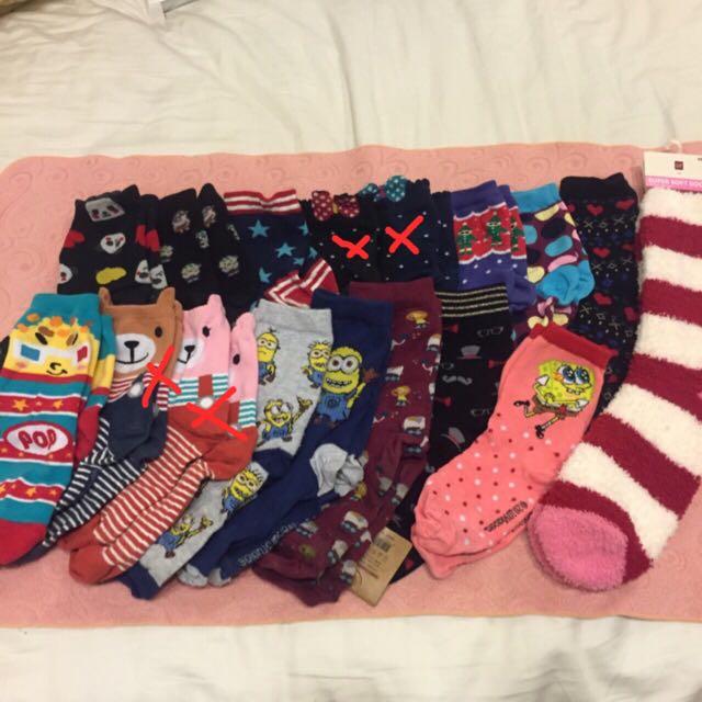 韓 襪 短襪 中長襪 半筒襪 素色 海綿寶寶 小小兵 毛襪 保暖襪