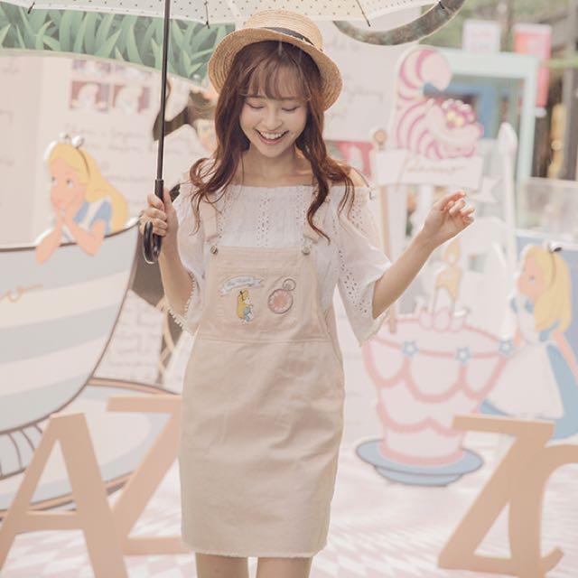 已售出❣️全新 Pazzo Alice Disney 愛麗絲ALICE俏女孩甜淨吊帶裙 粉