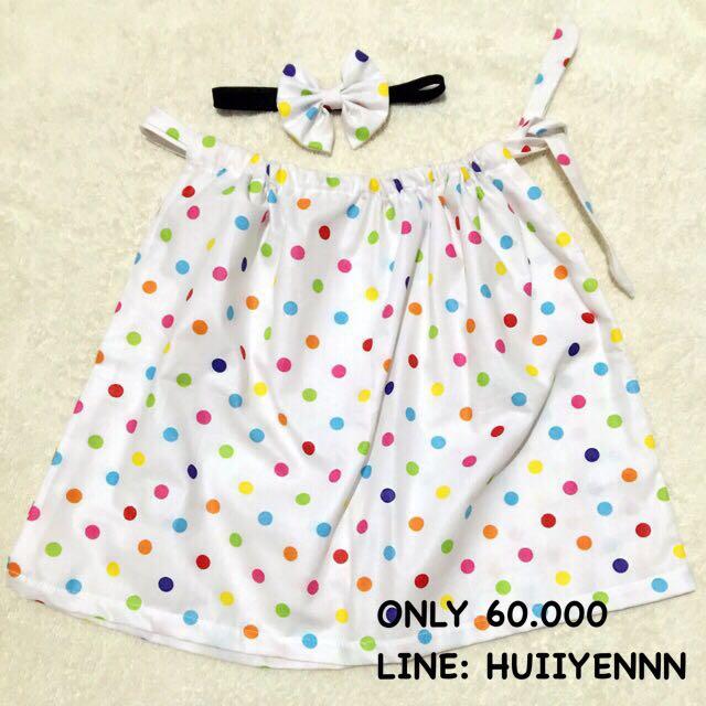 baby mini dress rainbow dots