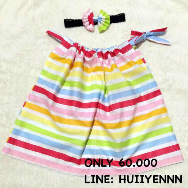 baby mini dress rainbow stripes