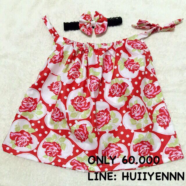 baby mini dress red rose