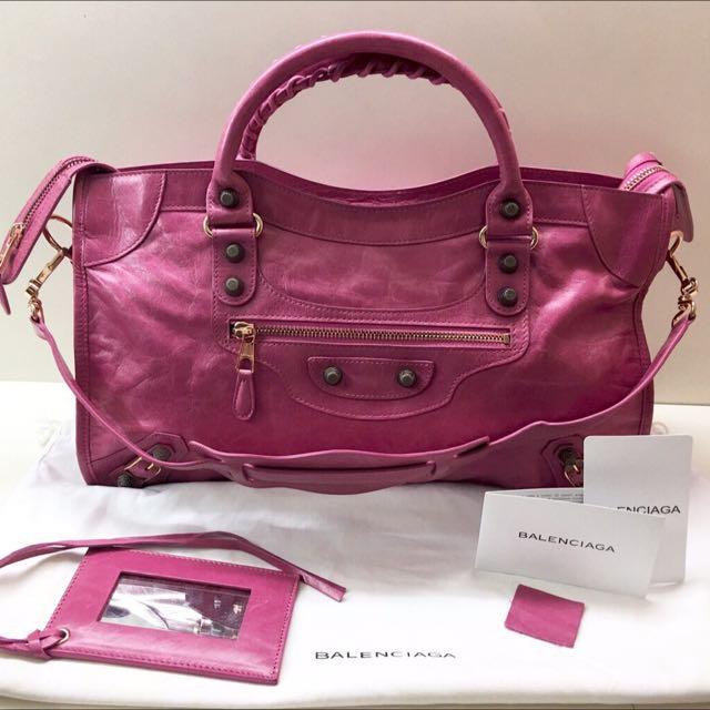 60860db11e Balenciaga Giant 12 Rose Gold City- Hot Pink, Women's Fashion, Bags ...