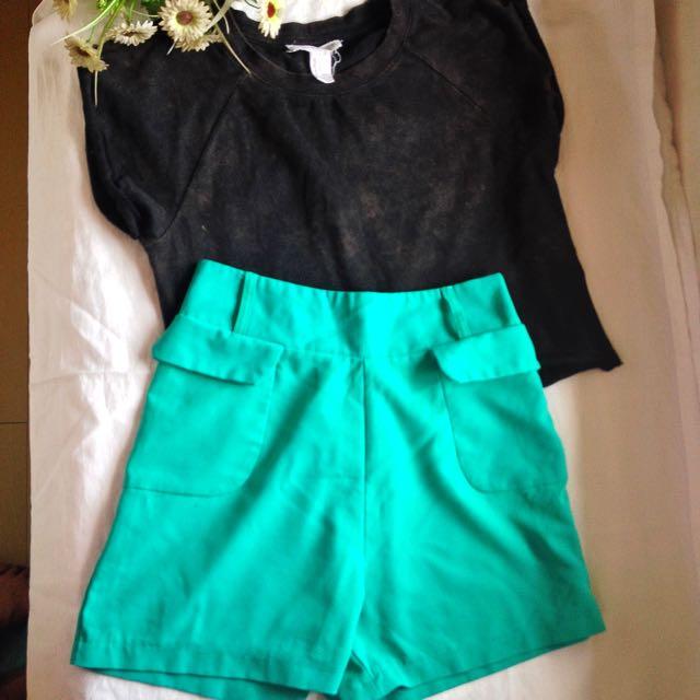 Black Crop Tee/ HW Green Shorts  Bundle