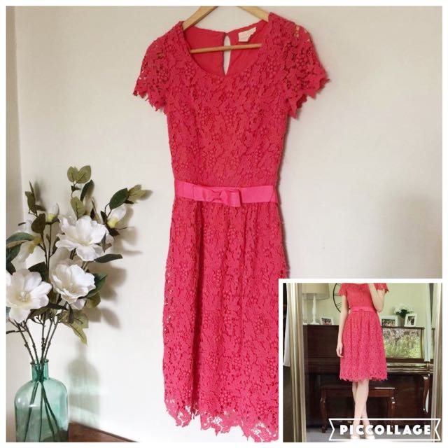 Collette By Collette Dinnigan Pink Lace Cap Sleeved Midi Party Races Dress Size 8