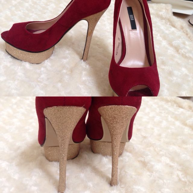 Gold And Red Heels Size 37