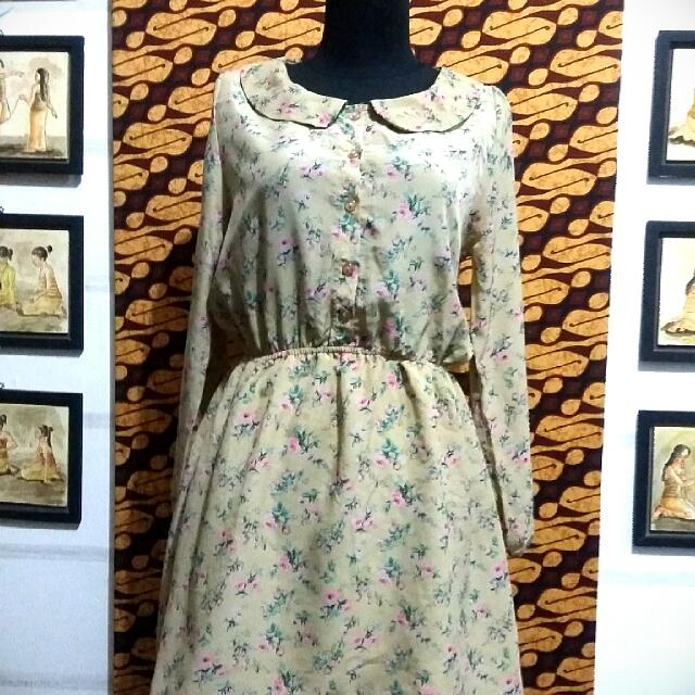 Korean Flowery Vintage Dress