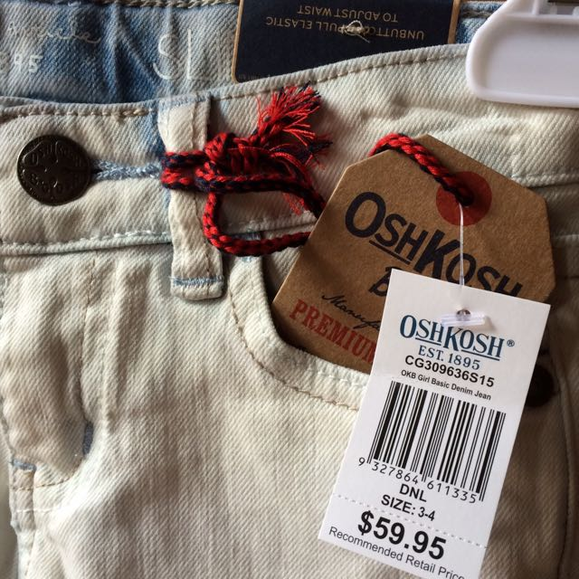 Osh Kosh Jeans, Size 3-4, Rrp $60