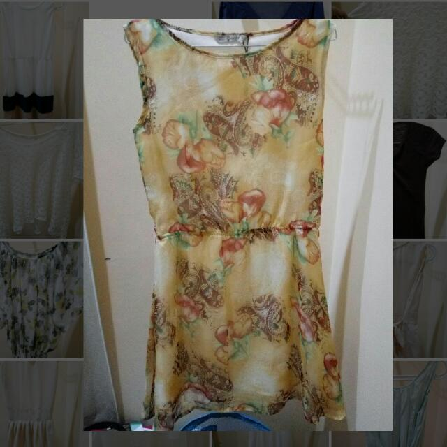 Yellow - Brown Dress - Kuning Coklat