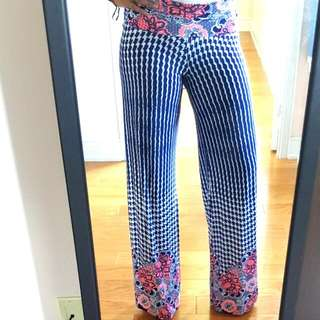 Blue & White Flowy Pants With Flowers
