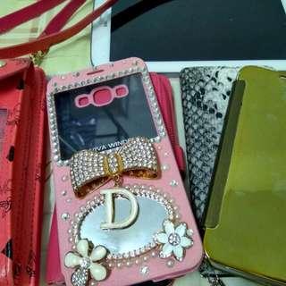 三星samsung a8 手機套粉紅色白小花蝴蝶結透視鏡子可插信用卡,金色s7類似款全新售150元