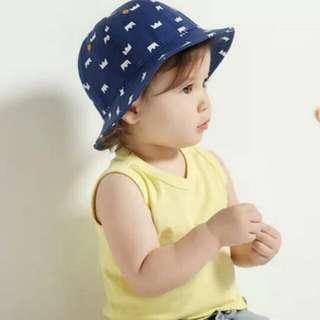 新品韓版兒童春夏秋天漁夫帽皇冠太陽帽男女寶寶遮陽帽嬰兒盆帽牛仔帽