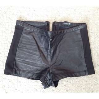Faux Leather Shorts With Zipper On Back