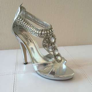Silver Rhinestone Embellished Stilettos