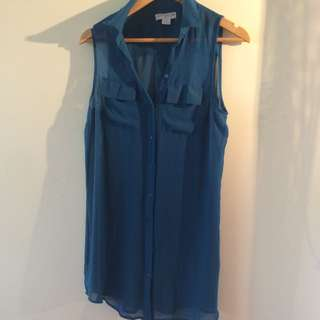 Womens S (10) Long Button Up Top