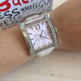 Guess Watch With Pink Leather Strap And Diamanté Watch face