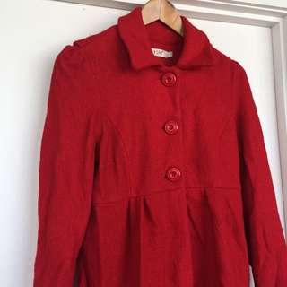 Sunny Girl Wool Red Coat Jacket, Size 12