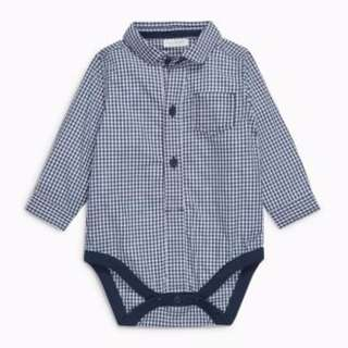 Next Direct - Navy Gingham Shirt and Joggers Pant (US 3-6 Months)