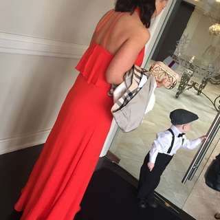 Red/ Coral Long Evening Dress