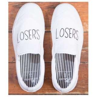 全新 日本潮牌 LOSERS SCHOOLER SLIP ON 白色帆布鞋 懶人鞋