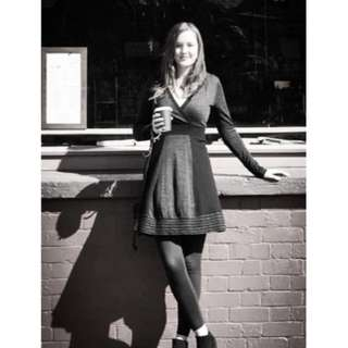 Black/grey 100% merino wool dress