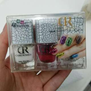 Care Romeis Pink White Chapping Cracked Nail Lacquer Polish Set