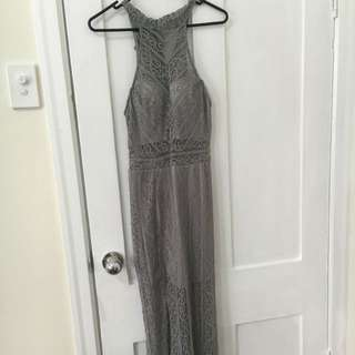 Grey Lace Formal Dress