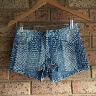Washed Denim Shorts