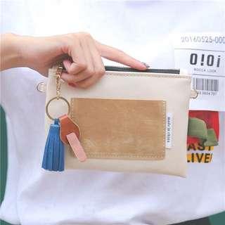 韓國流蘇鑰匙素色手機包手拿包零錢包M