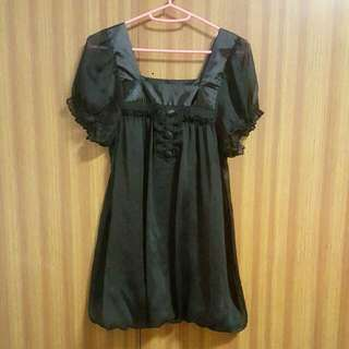 Ally Black Puffy Chiffon Dress