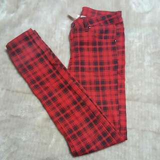 Red And Black Tartan Skinny Jeans