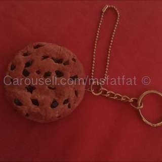Handmade Fake Chocolate Chips Cookie Mirror Charm Keychain
