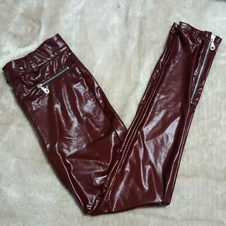 Burgundy Faux Leather Pants