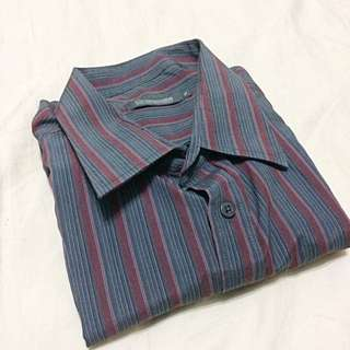 Crocodile Stripe Collared Shirt | Mens Wear