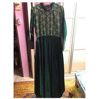 Traditional Velvet-Songket Dress