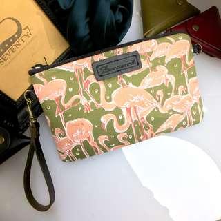 BAP 手拿包 筆袋 手機包 萬用包-綠底紅鶴