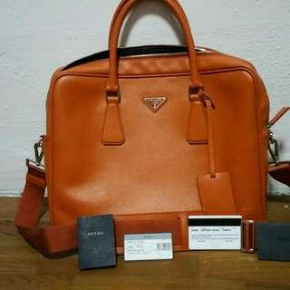 <Price Reduced>Preloved Prada Bag Saffiano Travel Papaya Colour