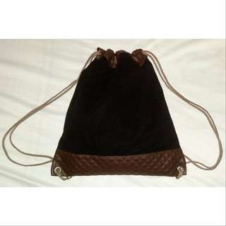 Suede/Leather Drawstring Bag