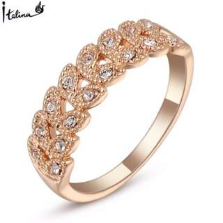 Real Italina Rings for women Genuine Austrian Crystal 18K Rose Gold Plated Vintage