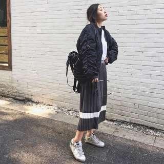 韓國訂製 針織 條紋 百折 長裙