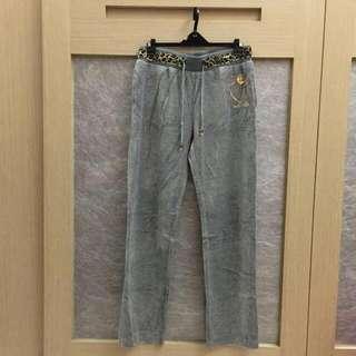 居家豹紋質感灰長褲