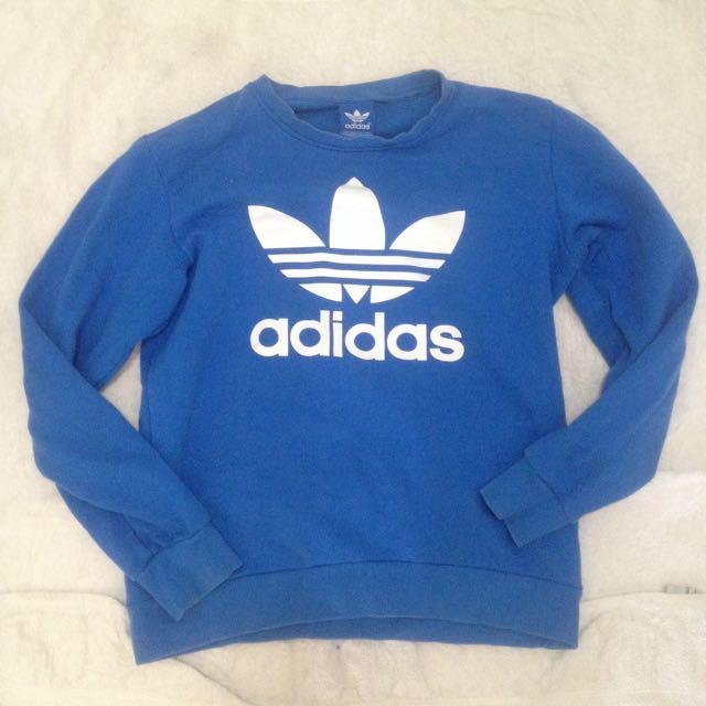 Adidas original blue jumper sweater sweatshirt large Size L classic authentic medium