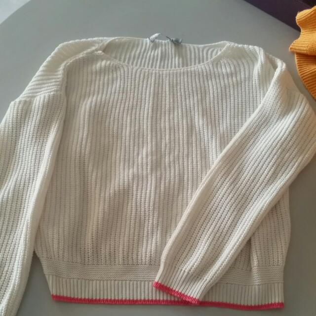 Asos White Jumper With Pink Lining Size 6